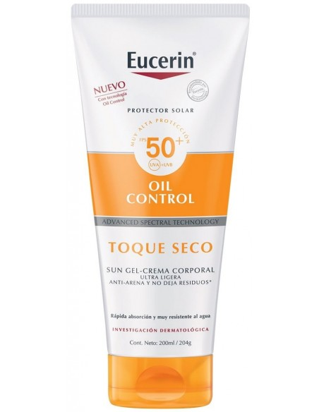 Eucerin Oil Control Sun Gel Cream Toque Seco Corporal SPF 50+ x 200mL